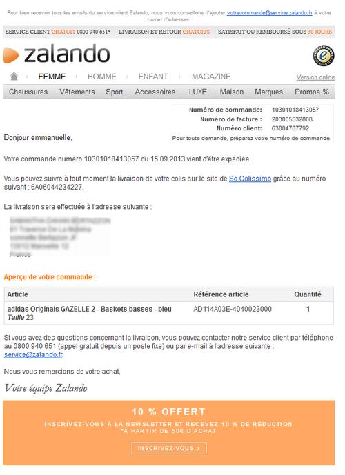 La livraison par Zalando