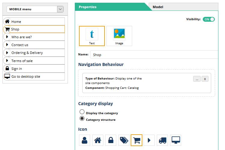 Mobile menu editor